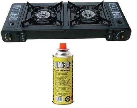 Nueva cocina de gas portátil doble estufa butano Camping barbacoa quemador de fiesta con 1 gas: Amazon.es: Deportes y aire libre