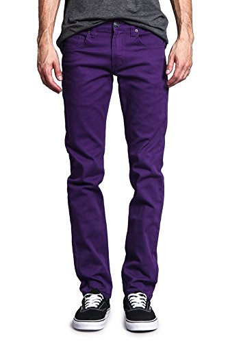 Victorious Men's Skinny Fit Color Stretch Jeans DL937 - Purple - ()