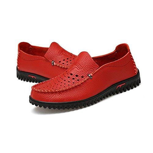 Mocassins Décontractés de Mocassin d'été des Hommes en Cuir de Chaussures Plates de Chaussures d'été Rouge vl0dd5SL3