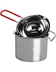 Stainless Steel Double Boiler Melting Pot with Heat Resistant Handle, Large Capacity Chocolate Melting Pot for Butter Candy Butter Cheese, Candle Making (450/900ML)
