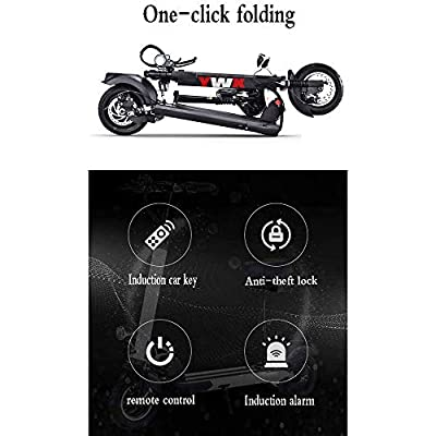 Mini Folding Electric Scooters Adult, 150 Kg Max Load Lithium Battery36v, 1000w Rear Wheel Single Motor Drive with Led Light and Hd Display, 50km Range (Color : Black) : Sports & Outdoors