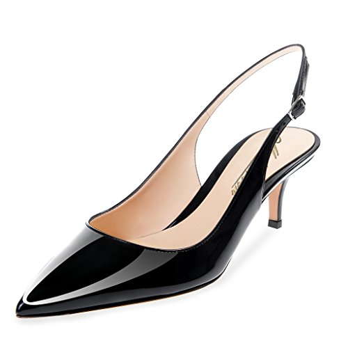 Modemoven Women's Black Patent Leather Pointed Toe Slingback Ankle Strap Kitten Heels Pumps Evening Stiletto Shoes - 7 M US by Modemoven (Image #2)