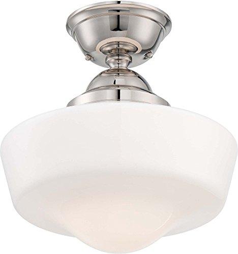 Minka Lavery Semi Flush Mount Ceiling Light 2257-613, Glass Lighting Fixture, 1LT, Polished Nickel