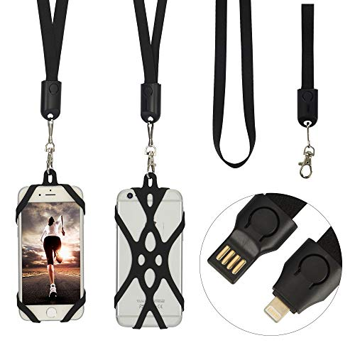 Phone Lanyards, Includes Neck & Wrist USB Cable & Universal Cell Case, 1.5A Data Charging & Sync, Easy & Sturdy Buckle Design, Ergonomic & Wearable, Excellent Compatibility (Lightning Cable)