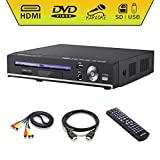 DVD Player, Sindave Compact DVD Players for TV Region Full HD Upscaling 1080p UpConverting DivX, USB Direct Recording and Playback, SD Cardreader Karaoke Mic Port (HD dvd player) (Black HD DVD Player)