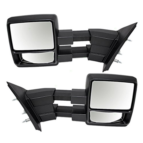 Driver and Passenger Manual Side Tow Mirrors Telescopic Dual Arms Replacement for Ford F-150 Pickup Truck 9L3Z17683AC 9L3Z17682AC