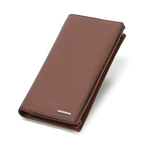(Banuce Vintage Brown Slim Soft Real Leather Long Bifold Wallet for Men Business Clutch Purse Cards Holder Case ID Window Organizer)