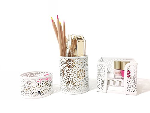 k Organizer for Women - 3 Piece Desk Accessories Set - Paper Clip-Accessory Tray, Sticky Note Holder, Pen Cup - White Floral Sunflower Pattern (3 Piece Desk Accessory)