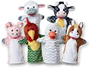 Melissa & Doug Barn Buddies Hand Puppets, Set of 6 (Cow, Sheep, Horse, Duck, Chicken,