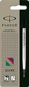 Parker Quink - Recambio para bolígrafo de punta rodante (punta media, tinta color negro)