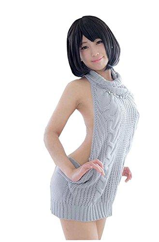 Sweater Strapless (SSJ Japan Sexy Halter Knit Sweater High Neck Sleeveless Strapless Lace (Gray))
