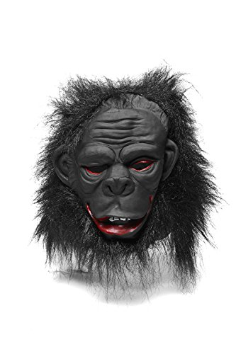 Strong Gorilla Ape Scary Horror Full Face Mask With Hair Halloween Party Unisex (Black, blood red)