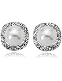 Clip On Pearl Earrings with Art Vintage Wedding Style - Cream Pearls