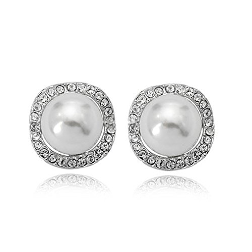White Vintage Earring - Clip On Pearl Earrings with Art Vintage Wedding Style - Cream Pearls (White1)