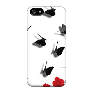 (cvENGmU7868muDNJ)durable Protection Case Cover For Iphone 5/5s(red Flowers Shadow Butterflies)