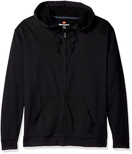 Hanes Men's Sport Performance Fleece Full-Zip Hoodie, Black, XL (Black Performance Hoody)