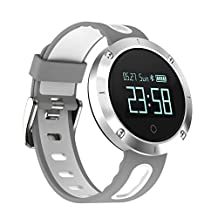 Kamero Bluetooth Smart Watch Bracelet Fitness Tracker for iPhone Samsung with Heart Rate Blood Pressure Monitor Activity Tracker Waterproof IP67 (White)