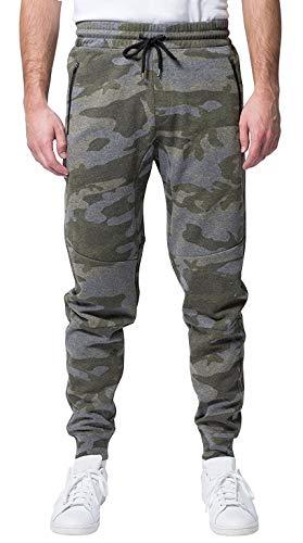 Brooklyn Athletics Men's Fleece Jogger Pants Active Zipper Pocket Sweatpants, Olive Camo, Large