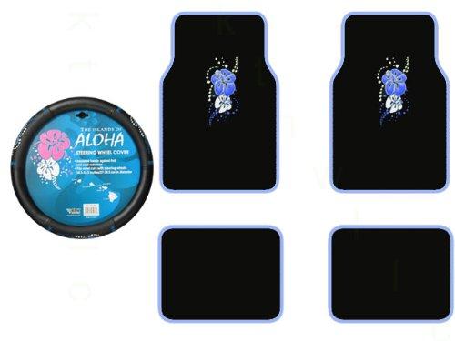 A Set of 4 Universal Fit Hawaiian Aloha Blue Plush Carpet Floor Mats and 1 Comfort Grip Steering Wheel Cover