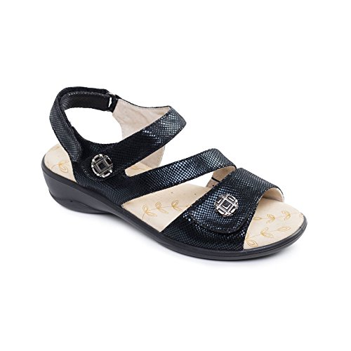 Reptile Free 'Vienna' UK E Black Shoe Microfibre Horn Fit Sandal Wide Padders Women's Footcare wR0aqSO