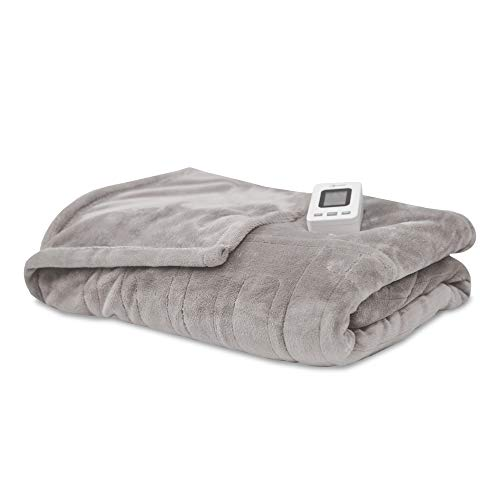 Sunbeam Fleece - SensorPedic Heated Electric Blanket with SensorSafe, Twin, Soft Grey