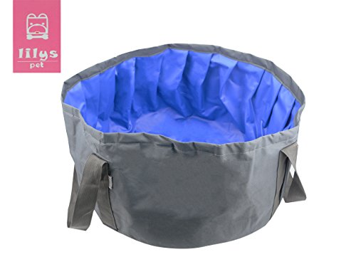 LILYS PET Portable Folding Bath tub Swimming Pool for Small Dogs and Cats Outdoor/Indoor,18''×18''×9'' (Grey)