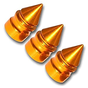 "(3 Count) Cool and Custom ""Unique Pointed Spikes with Easy Grip Design"" Tire Wheel Rim Air Valve Stem Dust Cap Seal Made of Genuine Anodized Aluminum Metal {Amber Maserati Yellow Color"