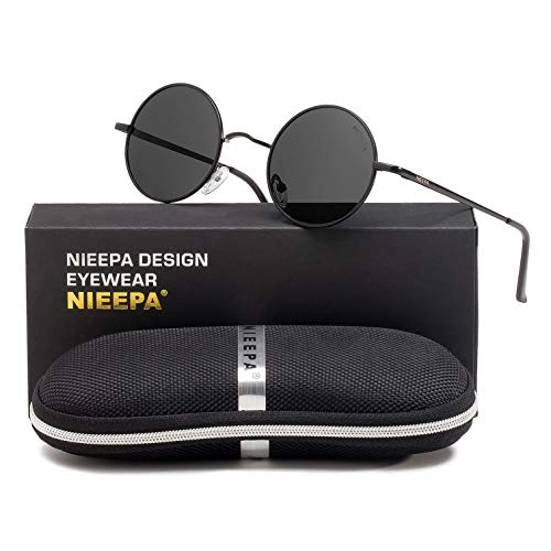 NIEEPA John Lennon Vintage Round Polarized Hippie Sunglasses Small Circle Metal Driving Sun Glasses (Grey Lens/Black ()