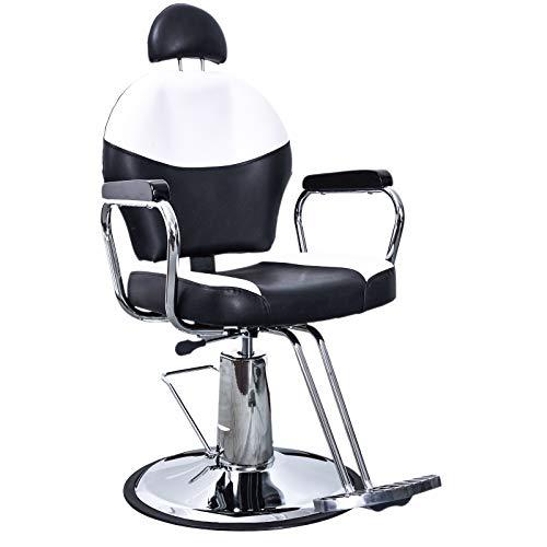 BarberPub Classic Hydraulic Barber Chair Salon Spa Hair Beauty Chair Styling Equipment 3022 (Black&Creme White)