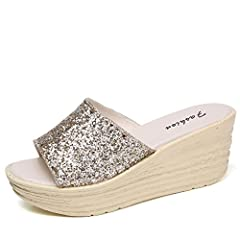 Women's Casual Wedge Shoes Summer Non-Slip Slope Sandals Fashion Sequin Decoration