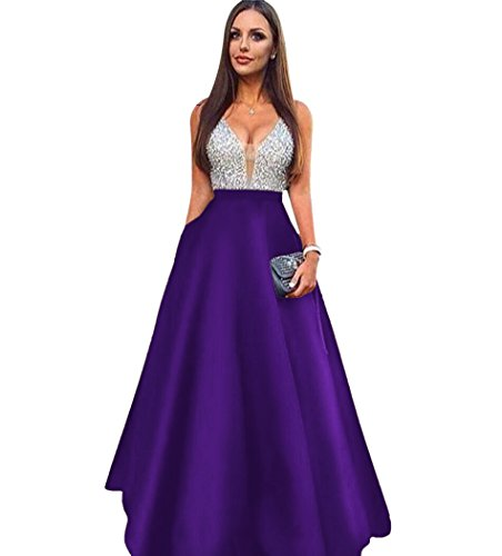 ScelleBridal Beaded Crystal Prom Dresses 2018 Long Satin Evening Gown Purple 4