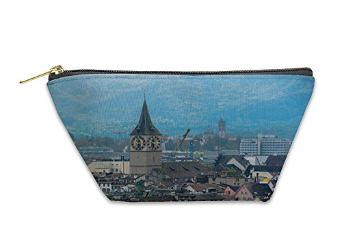 Gear New Accessory Zipper Pouch, Zurich Center Image Ancient European City View From Top, Large, - Zurich Images