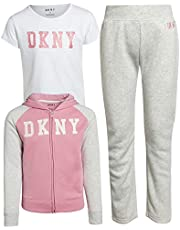 DKNY Girls 3-Piece Athletic Fleece Zip Sweatshirt Hoodie and Jogger Set (Toddler/Little Girls)