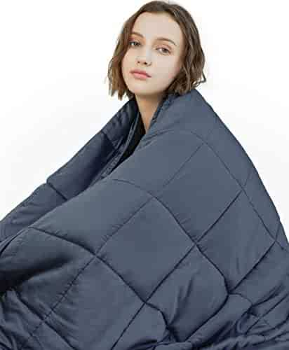 YnM Weighted Blanket (15 lbs, 48''x72'', Twin Size) | 2.0 Heavy Blanket | 100% Cotton Material with Glass Beads.