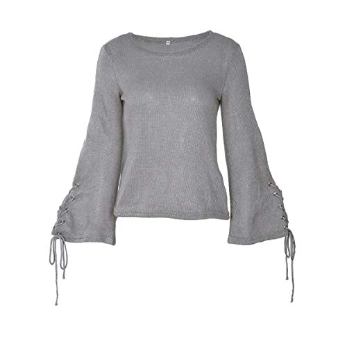 Tricots Jumper Maille Flare Mode Automne Casual Femmes Sweaters Pull Pullover Bandage Tops Gris Hauts Chandail WOZNLOYE Sleeve Blouse Rond Col Hiver en wFXOqcxB