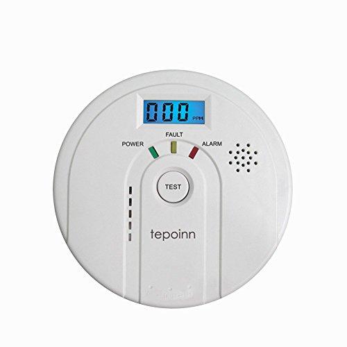 Tepoinn Kohlenmonoxid Detektor CO Alarm Rauch und Alarm mit Digital Display Elektrochemische CO Sensor, Digitale Anzeige, Stimme Warnung, und Batterie Backup
