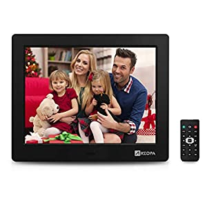 Arzopa 8 Inch Digital Picture Frame IPS High Resolution Widescreen Electronic Digital Photo Frame 1024×768 Support MP3 MP4 Videos Pictures Player with Remote Control Black