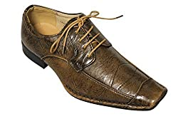 Majestic Collection Men's Wrinkle Lace Front Dress Shoe (6.5, brown wrinkle)