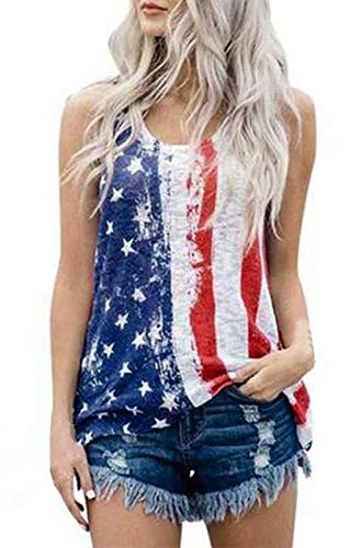 Women's American Flag Tank Top Vintage Distressed Summer Camisole Blouse Shirts for Teen Girls Size XL (White)