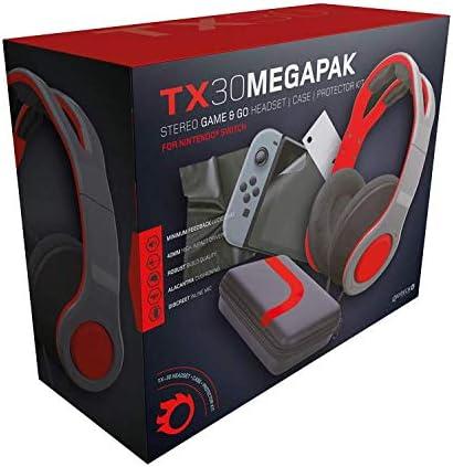 Gioteck - Pack auricular estereo con cable rojo y gris Gioteck TX-30 + funda rigida de proteccion + Kit de proteccion de pantalla (Nintendo Switch): Amazon.es: Videojuegos