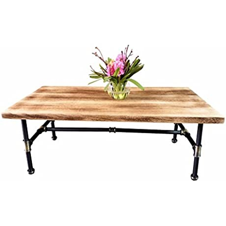 Furniture Pipeline Corvallis Industrial Rectangle Pipe Coffee Cocktail Table Metal Pipe Frame With Reclaimed Aged Finish And Solid Sustainable Wood Natural Stained Wood