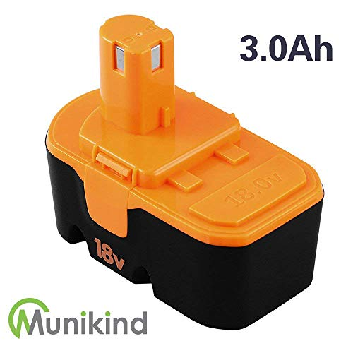 Munikind 3.0Ah Replace for Ryobi 18V Battery NiMh P100 P101 ABP1801 ABP1803 ABP1801 BPP1820 Cordless Tools by Munikind