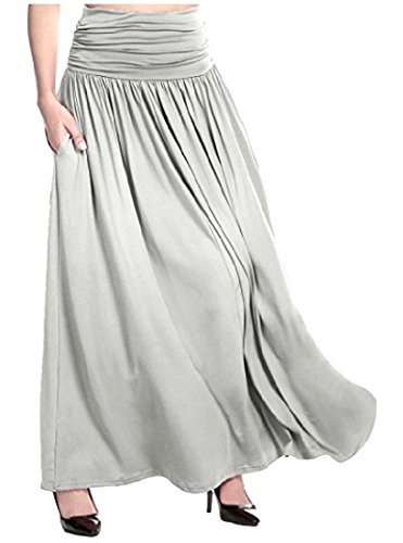 Comfy Womens Loose Solid-Colored Casual Leisure Plus-Size Long Skirt Light Grey 2XL