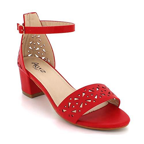 Mujer De Señoras Zapatos Rojo Bloque Medio Boda Sandalias Abierta Noche Talón Tamaño Paseo Punta Partido HHqrZx