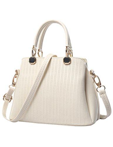 nuove a borsa lucida Rosso PU Vino CUKKE signore Bag Bianco Tote Leather tracolla XUwqqOT