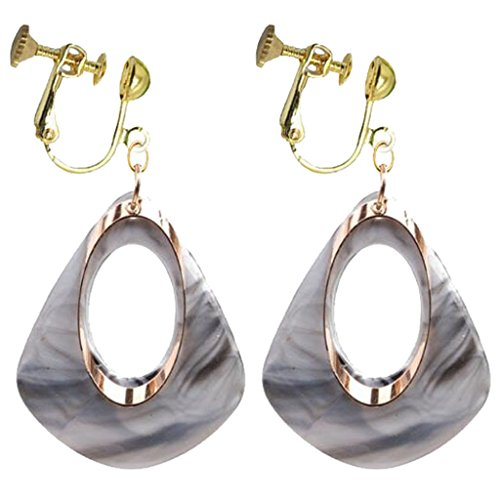 Fashion Gray Acrylic Clip on Earrings Large Teardrop Metal Round Circle Dangle for Girls Women