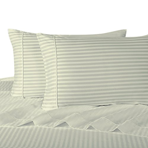 Stripes Ivory 600 Thread Count Queen size Sheet Set 100 % Co