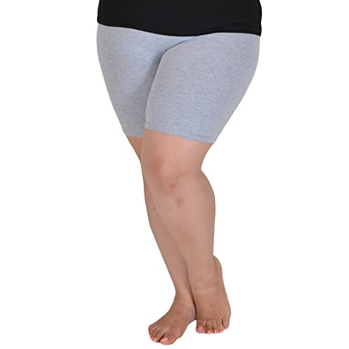 Stretch is Comfort Women's Cotton Plus Size Bike Shorts Heather Gray ()