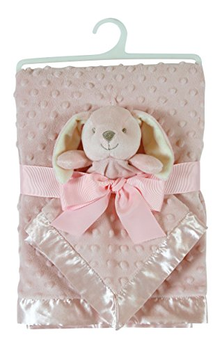 Stephan Baby Satin-Trimmed Bumpy Dot Fleece Blanket and Security Blanket Set, Pink - Dot Satin Pink
