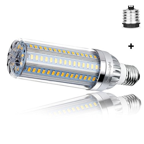 50W Super Bright Corn LED Light Bulbs (500W Equivalent) - 3000K Warm White 5500Lumens - E26 with E39 Mogul Base Adapter for Large Area Commercial Ceiling Lights - Garage Warehouse Factory Office Barn ()